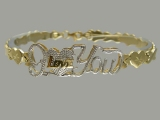- Jewelry Stores - Two Tones I Love You X O Bracelet (white & yellow) Gold
