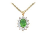 - Jewelry Stores - Genuine 13-Stone Oval Cluster Green Emerald Pendant